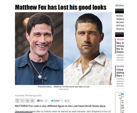 マシュー・フォックス(左が「Extra!」出演時、右は「LOST」当時)