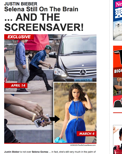 セレーナ・ゴメスの写真(?)が表示されたスマホを持つジャスティン・ビーバー