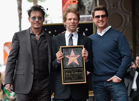(左からジョニー・デップ、ジェリー・ブラッカイマー、トム・クルーズ