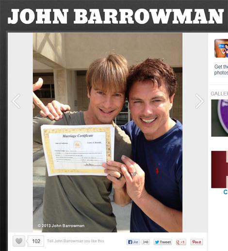 「トーチウッド」ジョン・バロウマンが交際20年のパートナーとカリフォルニアで結婚