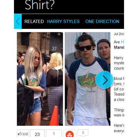 同じTシャツを着ていると話題のハリー・スタイルズとカラ・ローズ・マーシャル
