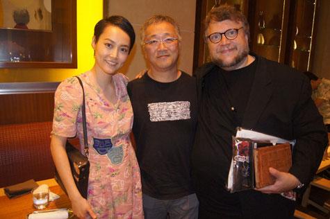 (左より)菊池凜子、大友克洋、ギレルモ・デル・トロ
