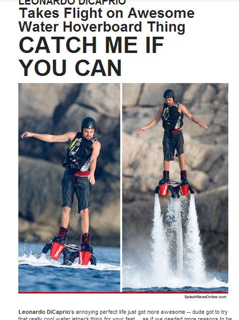 レオ様が空を飛ぶ! ディカプリオが話題のスポーツで空を飛んでゴキゲン[動画あり]