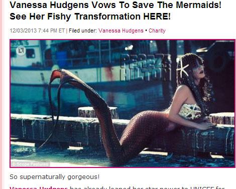 妖艶な人魚に扮したヴァネッサ・ハジェンズ