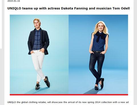 ユニクロ広告キャンペーンの顔を務めるトム・オデール(左)、ダコタ・ファニング