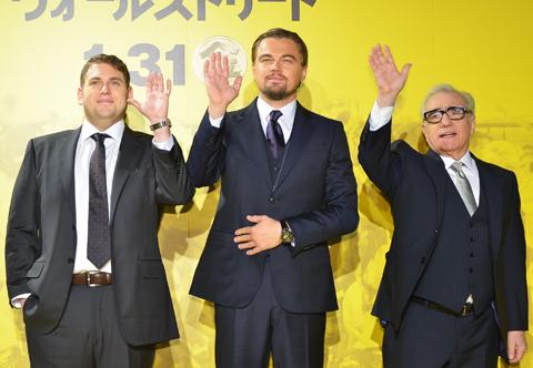 (左より)ジョナ・ヒル、レオナルド・ディカプリオ、マーティン・スコセッシ監督
