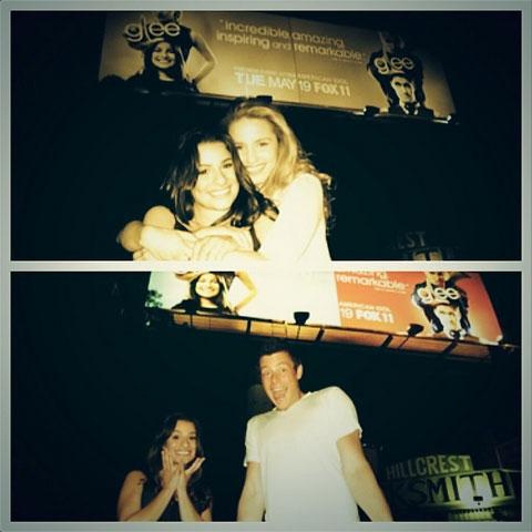 (上段)リア・ミシェルとディアナ・アグロン (下段)リア・ミシェルとコーリー・モンテース 2009年ごろ撮影