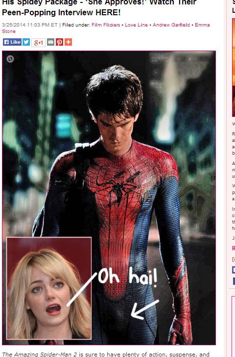 スパイダーマンを演じるアンドリュー・ガーフィールドと、エマ・ストーン