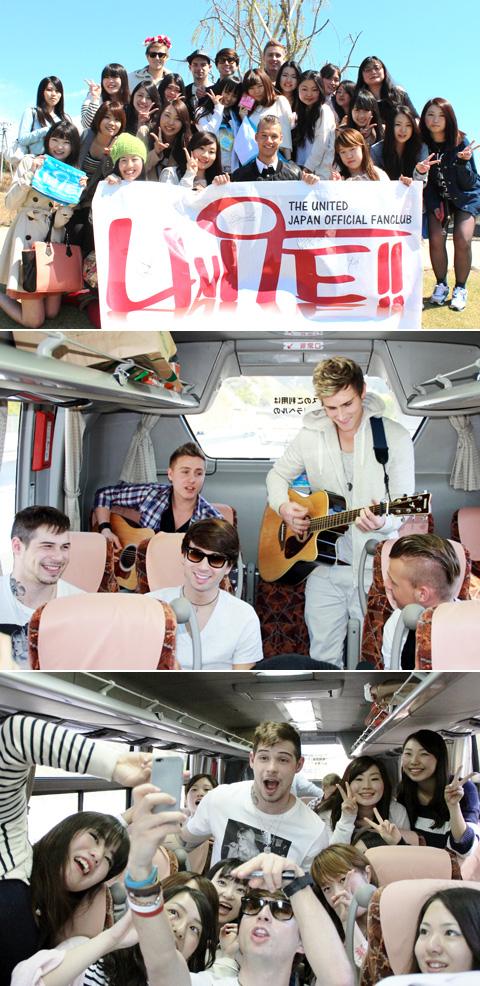 (上から)メンバーとファンたちが合流、バスでアコースティックライブ、車内でもファンと楽しく交流