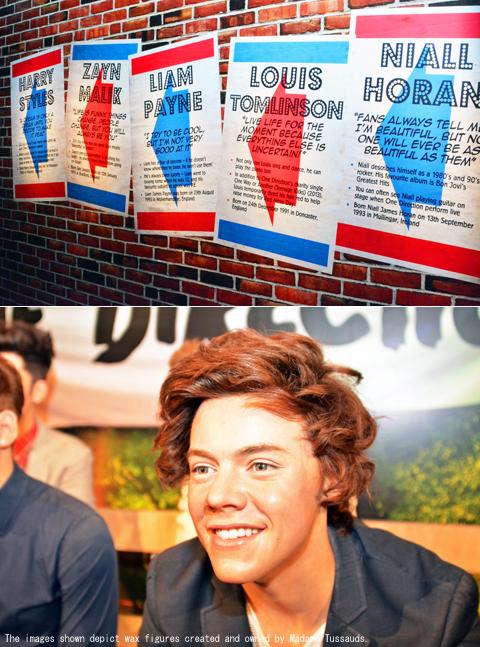 壁に描かれたボーイズのプロフィール(上部),ハリーのフィギュア(下部)
