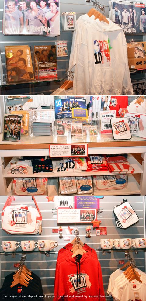 「マダム・タッソー東京」のギフトショップにある「ワン・ダイレクション」商品