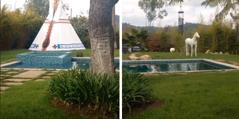 巨大プールとテント(左)、巨大な白馬のレプリカ