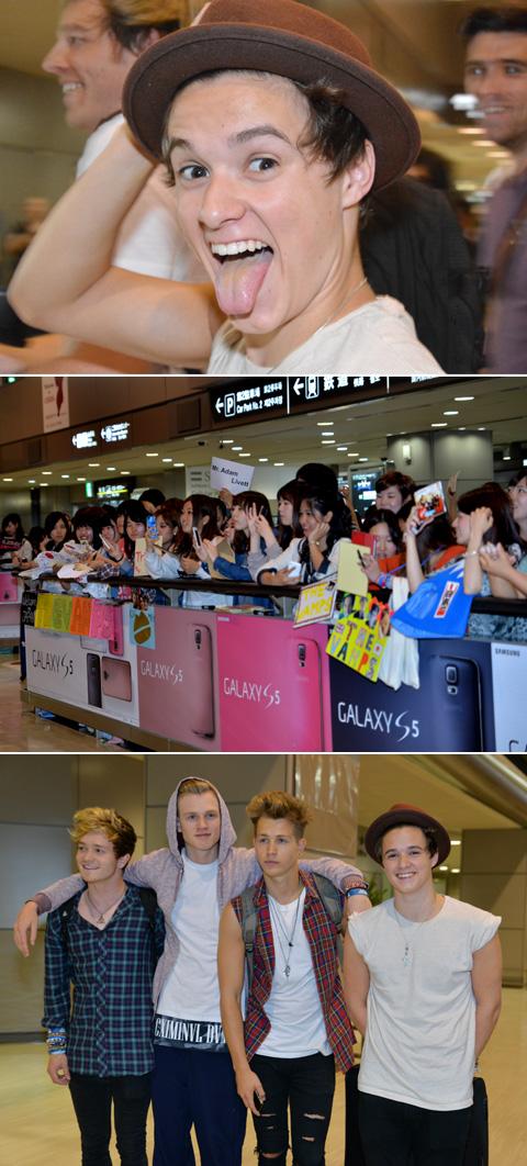お茶目なブラッドリー(上)、メンバーを出迎えるファンたち(中)、メンバーら、初の日本に笑顔(下)