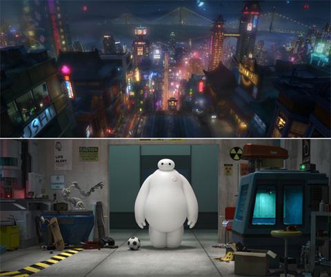 """映画「ベイマックス」の舞台「サンフラントーキョー」コンセプトアート(上)、ケア・ロボットの""""ベイマックス"""""""