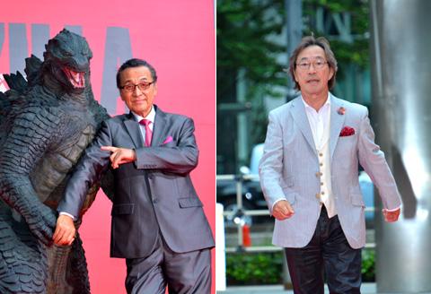 (写真左から)1954年公開の初代「ゴジラ」に出演した宝田明、1984年版「ゴジラ」に出演した武田鉄矢