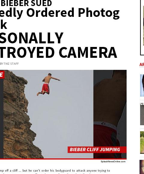 事件の発端となった、ジャスティン・ビーバーが崖からダイブする写真