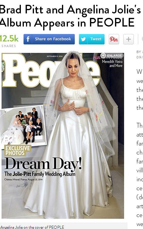 ブラピ&アンジー、結婚式の詳細が明らかに! ウェディングドレスには、子どもたちの絵と愛情がびっしり[写真]