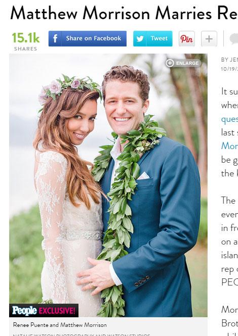 「glee」ウィル役マシュー・モリソンが結婚! ハワイウェディングで、新婦と愛のフラダンス披露