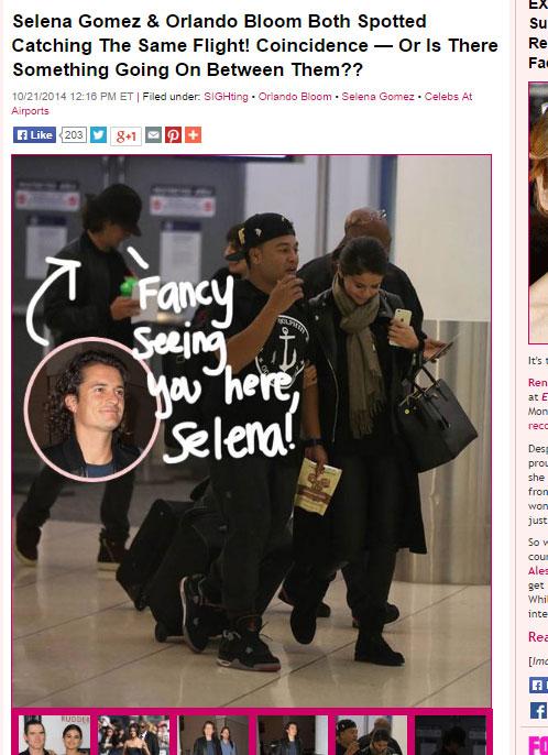 空港内で撮影された、セレーナ・ゴメスとオーランド・ブルーム