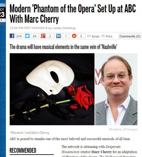 """「オペラ座の怪人」がテレビドラマに! 現代の音楽業界を舞台に、""""ファントム""""はどう描かれる?"""