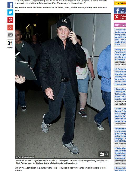 高倉健の訃報と共にマイケル・ダグラスの最新写真を載せる英Daily Mail