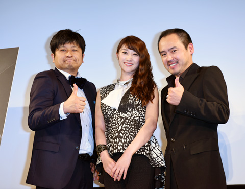 (左から)ダイノジ大谷ノブ彦、原幹恵、尾崎英二郎