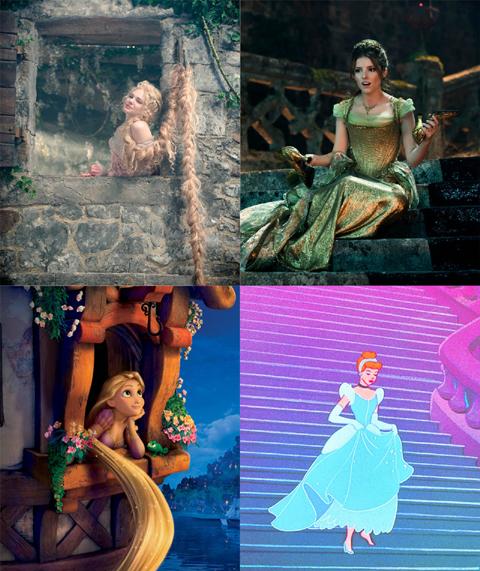 「イントゥ・ザ・ウッズ」とアニメーションのキャラクターを比較