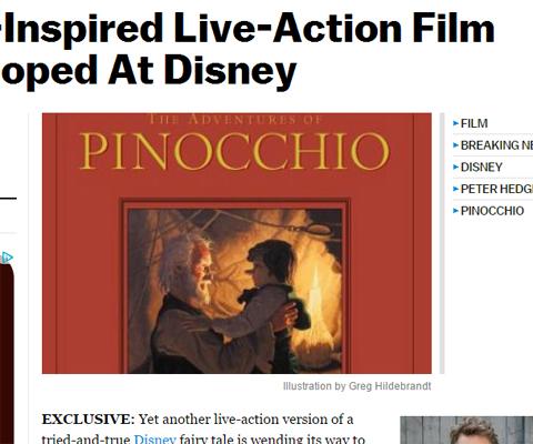 米ディズニー、今度は「ピノキオ」の実写版映画化を企画! 名作アニメの実写化の動き続々と