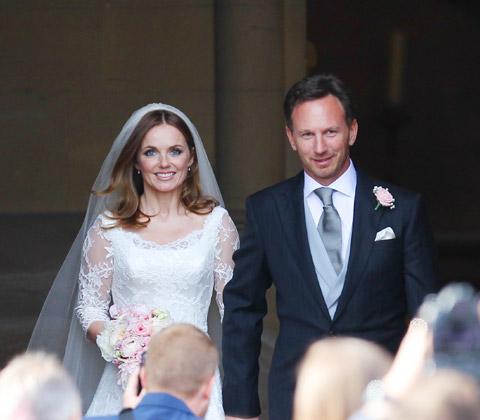 ジェリ・ハリウェルとクリスチャン・ホーナーの結婚式の様子
