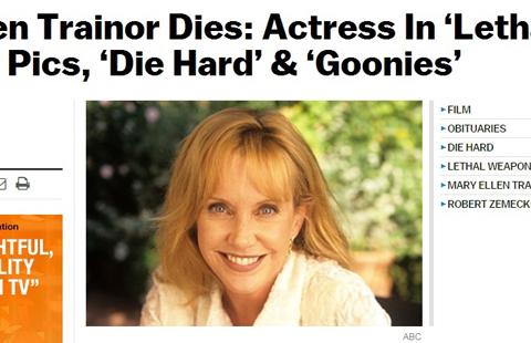 「グーニーズ」「リーサル・ウェポン」などに出演したメアリー・エレン・トレイナーが死去