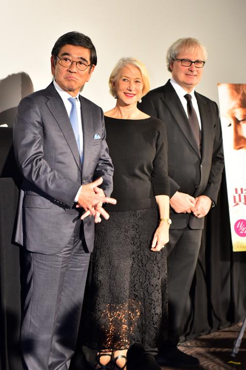 (左から)石坂浩二、ヘレン・ミレン、サイモン・カーティス監督