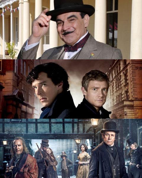 (上から)ドラマ「名探偵ポワロ」「SHERLOCK / シャーロック」「ディケンジアン」
