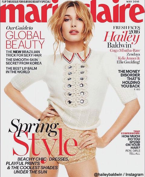 マリ・クレール誌 5月号の表紙を飾ったヘイリー・ボールドウィン