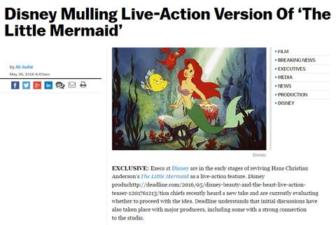 ディズニーが「リトル・マーメイド」実写映画化を企画中であることを伝える米DEADLINEの記事