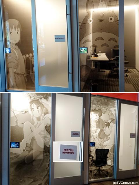 「スタジオ・ジブリ」作品をテーマにした一角 ドアには作品の英題が 日本からのプレスウケは断トツでした