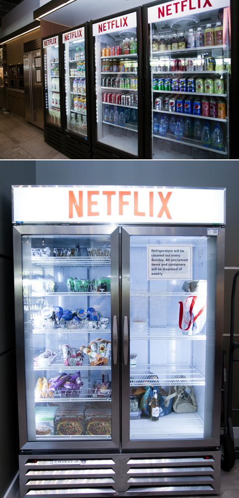 冷蔵庫・冷凍庫にも「NETFLIX」のロゴが ちなみに暑い日だったため、アイスクリームを食べる社員をよく見かけた