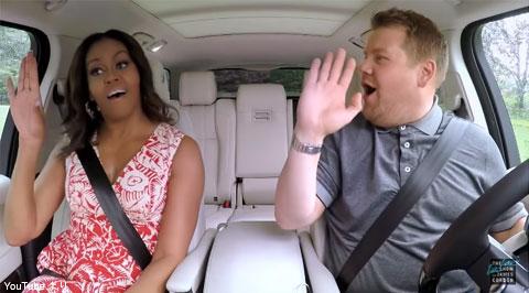 車内でノリノリのミシェル・オバマとジェームズ・コーデン