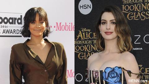 リアーナ(左)、アン・ハサウェイ