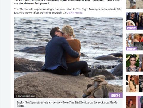 キスをするテイラーとトム