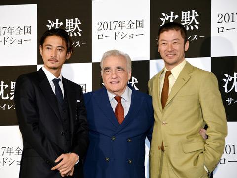 (左から)窪塚洋介、マーティン・スコセッシ監督、浅野忠信