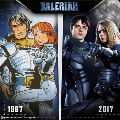 映画「Valerian and the City of a Thousand Planets」 左は原作となったコミック