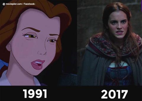 アニメ版「美女と野獣」(左)、実写版ベルを演じるエマワトソン