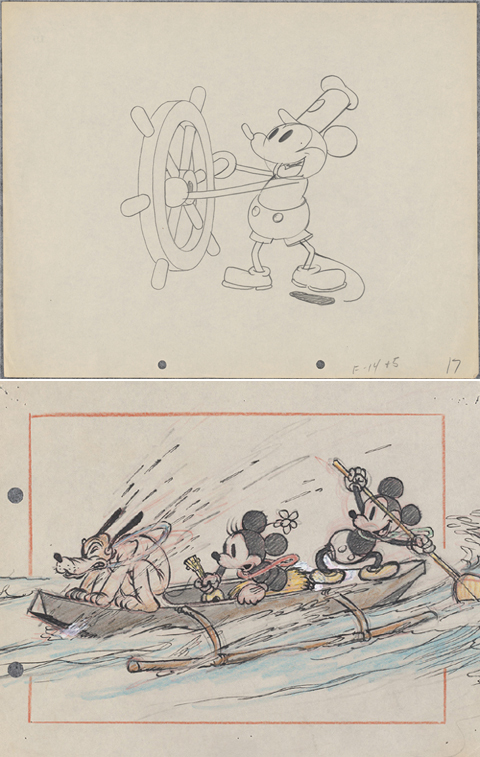 「蒸気船ウィリー」(写真上・1928年)、「ミッキーのハワイ旅行」(1937年)