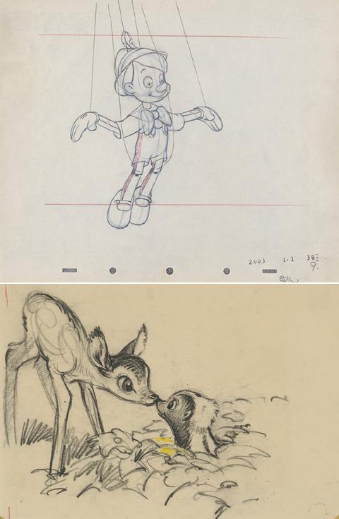 「ピノキオ」(写真上・1940年)、「バンビ」(1942年)