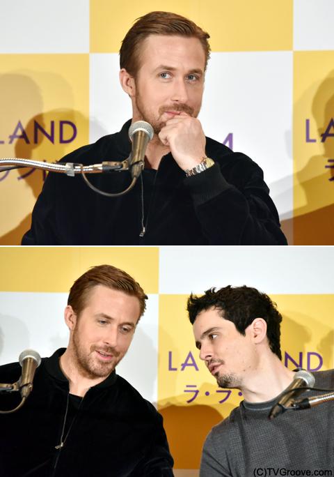 可愛らしいポーズをとるゴズリング(上)、談笑する2人