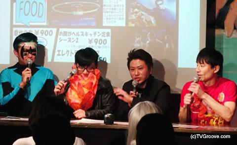 左から御茶ノ水男子のおもしろ佐藤さん、バッファロー吾郎の竹若元博さん、2丁拳銃の川谷修士さん、なだぎ武さん