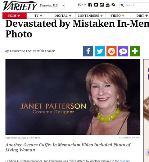 「ジャネット・パターソン」として紹介された、ジャン・チャップマンの写真