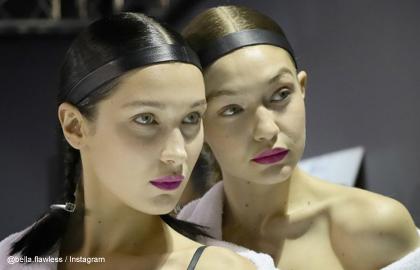 ベラ・ハディッドとジジ・ハディッド H&Mのファッションショーの舞台裏にて