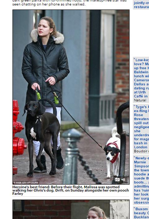 クリスの愛犬を散歩させるメリッサ