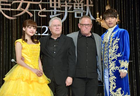 (左から)昆夏美、アラン・メンケン、ビル・コンドン、山崎育三郎